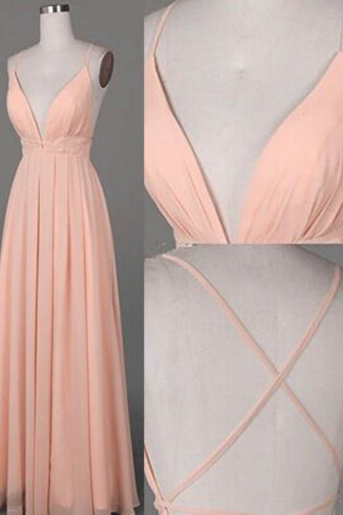d731a50c A-Line Spaghetti Straps Floor-Length Criss-Cross Straps Peach Prom Dress 0