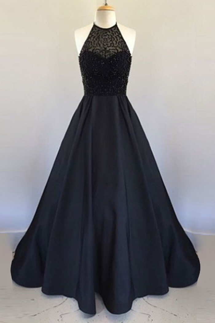 A-Line Halter Floor Length Black Satin Prom/Evening Dress with ...