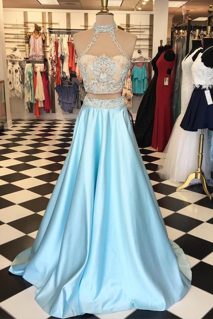 Two Piece High Neck Floor Length Light Blue Prom Dress