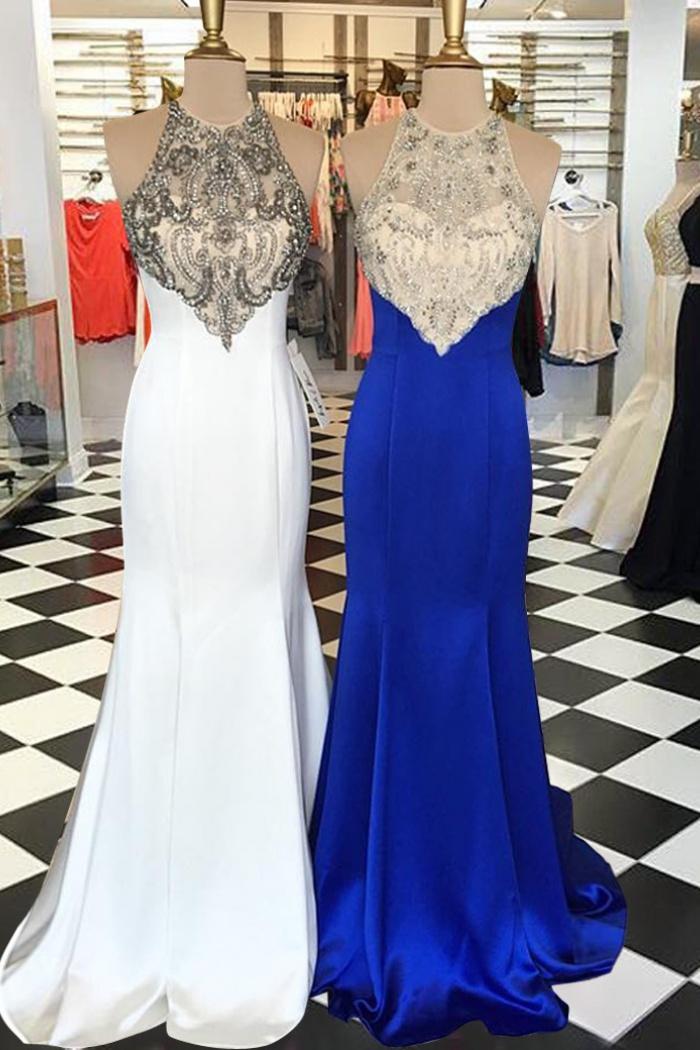 65c7f1f60997 Mermaid Jewel Open Back Sweep Train White/ Royal Blue Prom Dress with  Beading 0