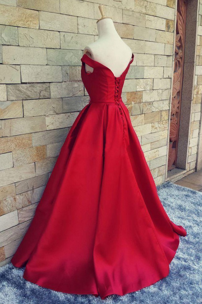 228b7869198 A-Line Off-the-Shoulder Short Sleeves Red Prom Dress with Bowknots ...
