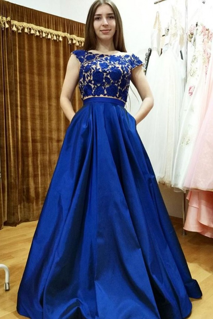 Two Piece Bateau Cap Sleeves Royal Blue Prom Dress with Appliques ...