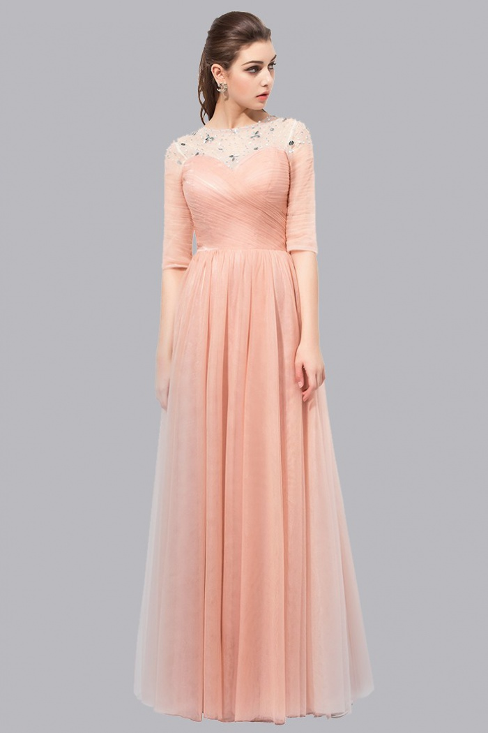 A-Line Bateau Half Sleeves Lace-up Long Peach Prom Dress with ...