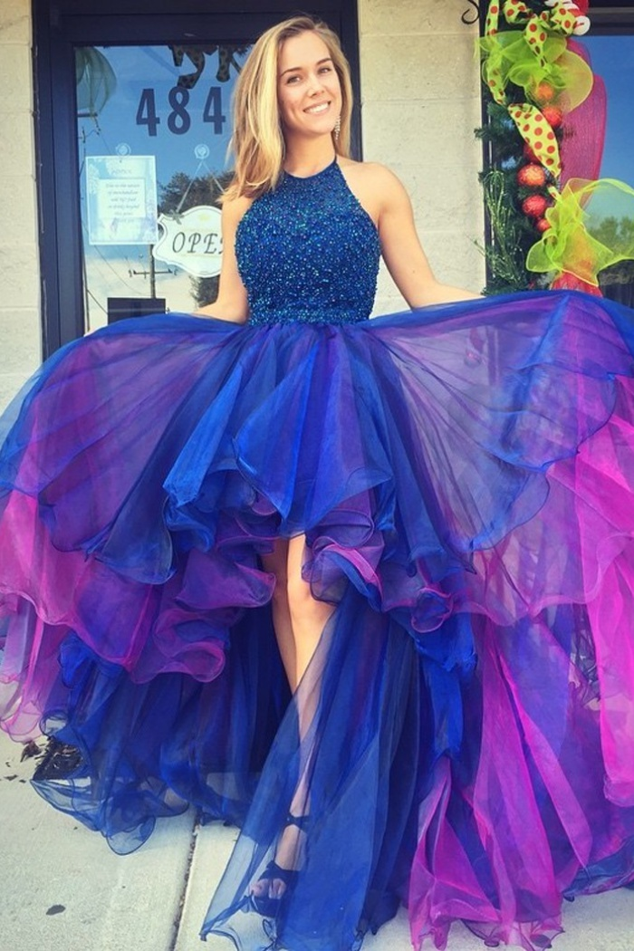 A Line Halter Hi Lo Royal Blue Organza Prom Homecoming