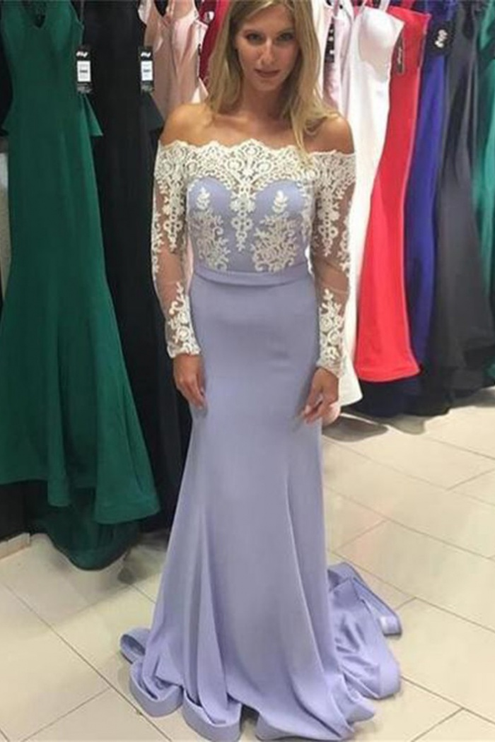 Mermaid Off The Shoulder Long Sleeves Lavender Prom Dress With Lace