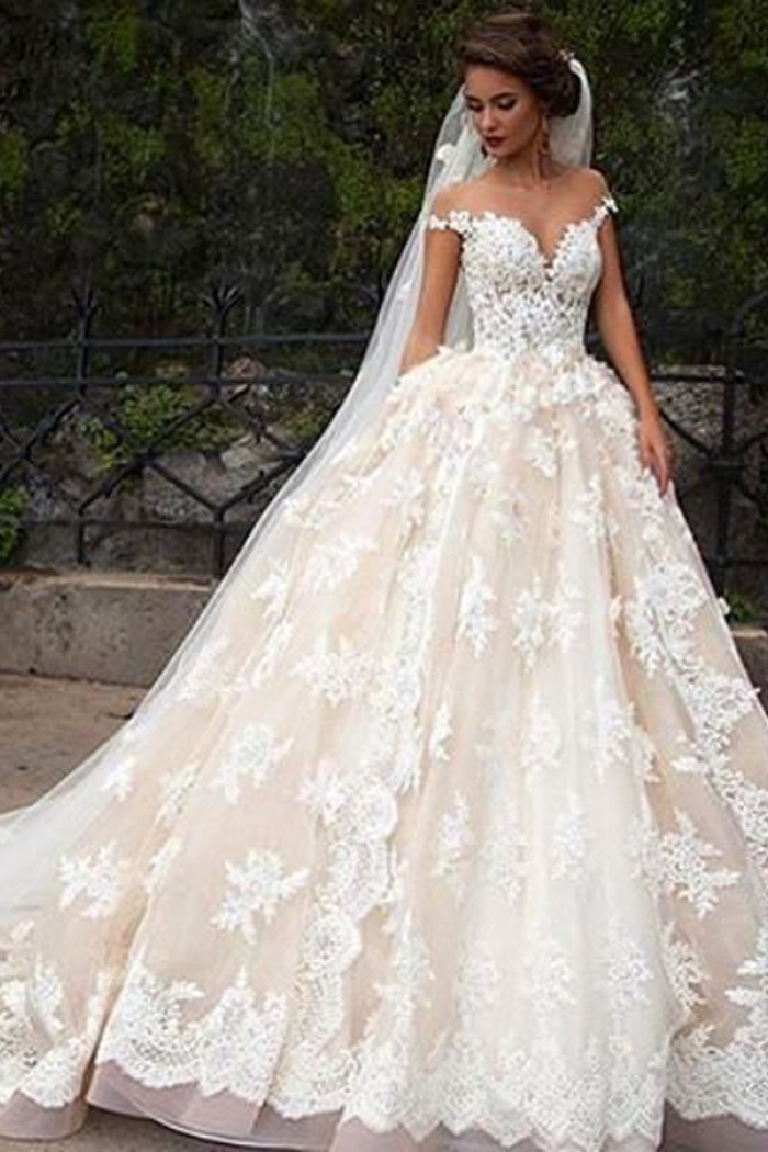 e2ce69809c6 Glamorous Jewel Cap Sleeves Court Train Wedding Dress with Lace Top ...
