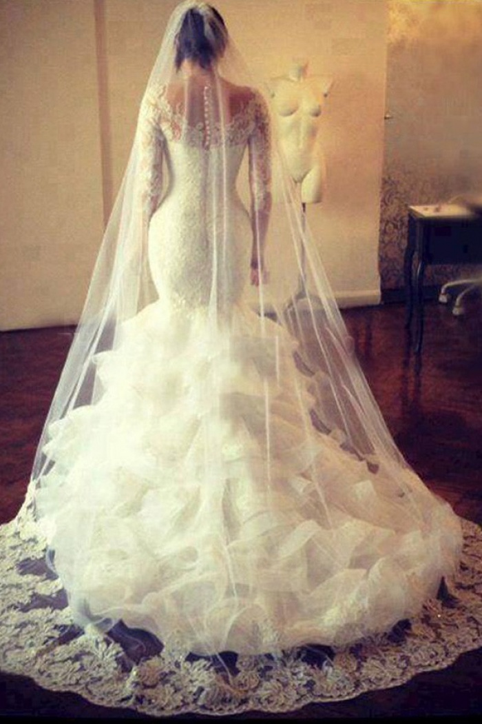 Mermaid Wedding Dresses with Long Train