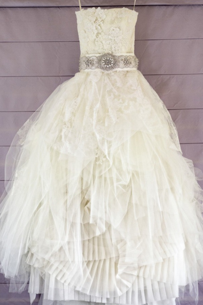 High Low Wedding Dresses.Crispy Strapless High Low Wedding Dress With Beading Lace