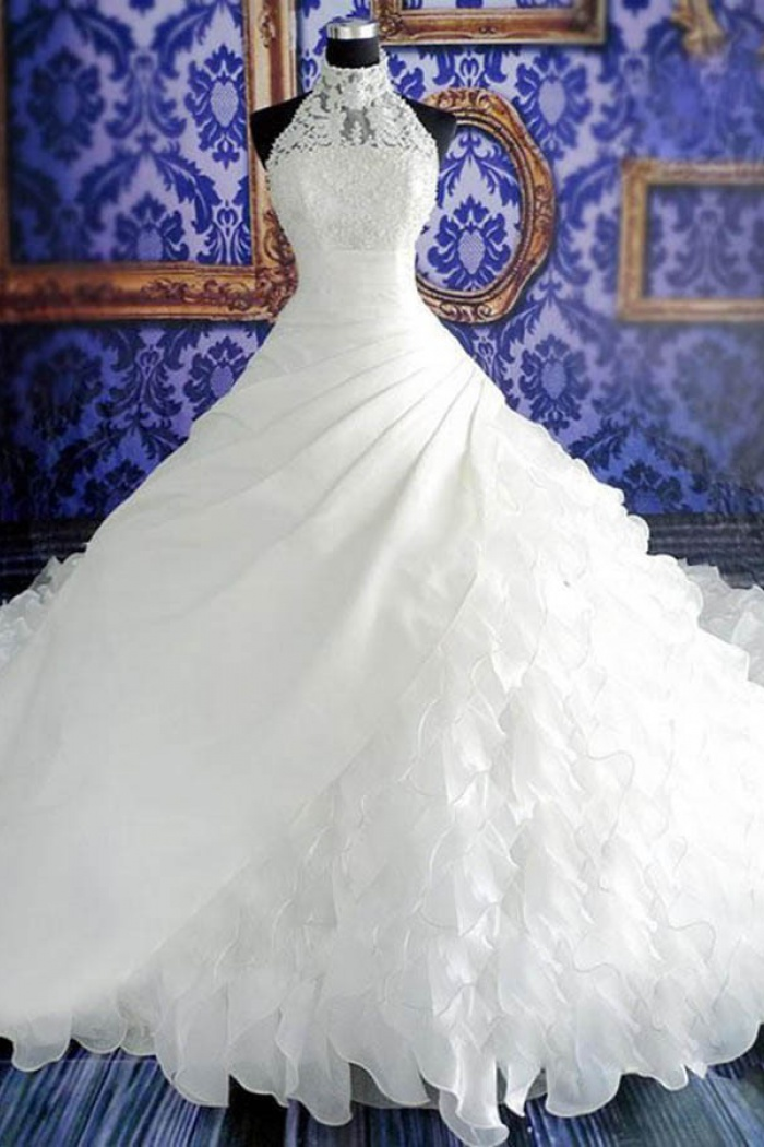 Dignified Halter Ball Gown Watteau Train Tiered Organza Wedding