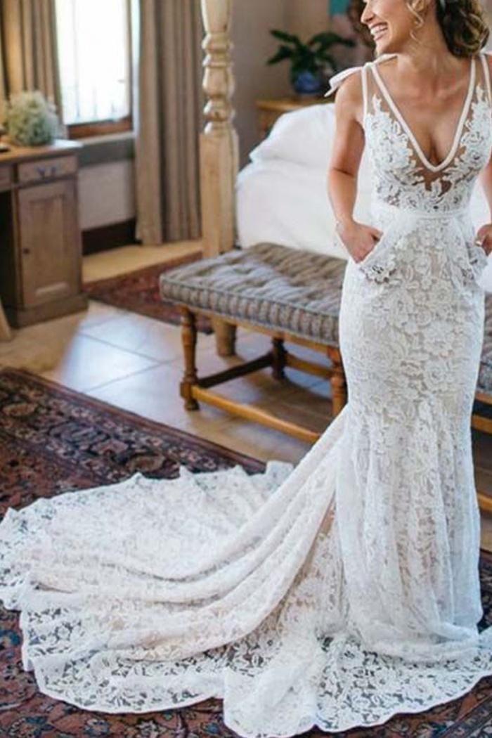 80fdd412252169 Generous Mermaid V-Neck Sleeveless Backless Ruched Lace Wedding Dress 0