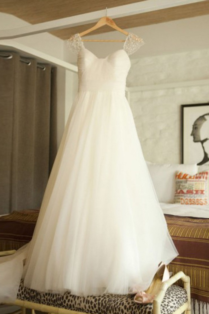 73a613d03d Elegant Scoop Cap Sleeves Sweep Train Beading Pleated Wedding Dress with  Pearls 0