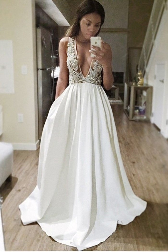 5f948ac4d A-Line Deep V-Neck Sweep Train Backless Ivory Satin Prom Dress with  Appliques