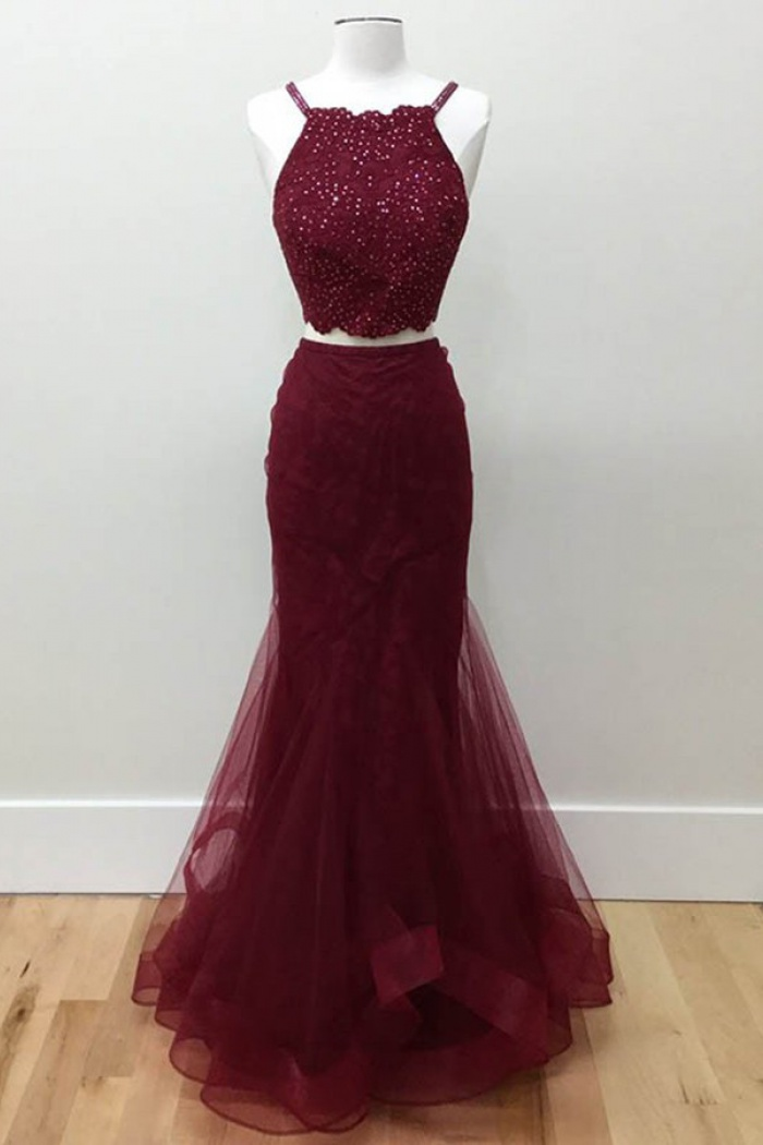 918ad8885fefa Two Piece Halter Floor-Length Burgundy Tulle Prom/Evening Dress with Beading  0