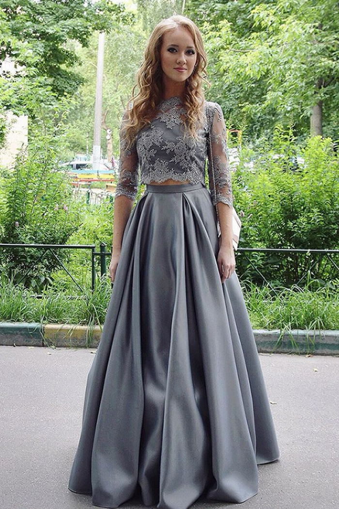 6194cac1e0e381 Two Piece Jewel Floor-Length Half Sleeves Grey Satin Prom Dress with  Appliques 0