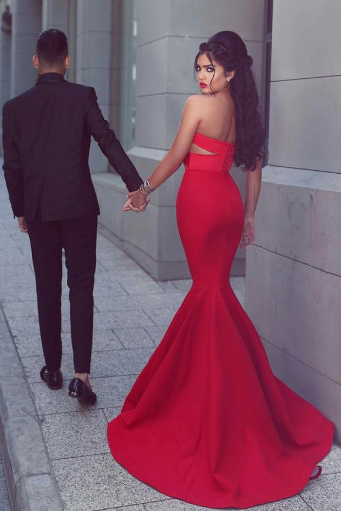 f2bd5c8da53e Mermaid Sweetheart Sweep Train Keyhole Cut Out Red Stretch Satin Prom Dress  1