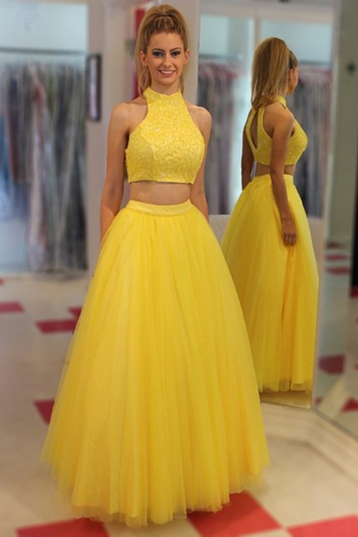 977a4eca3c205 Two Piece Jewel Floor-Length Open Back Yellow Prom/Evening Dress with  Beading 0