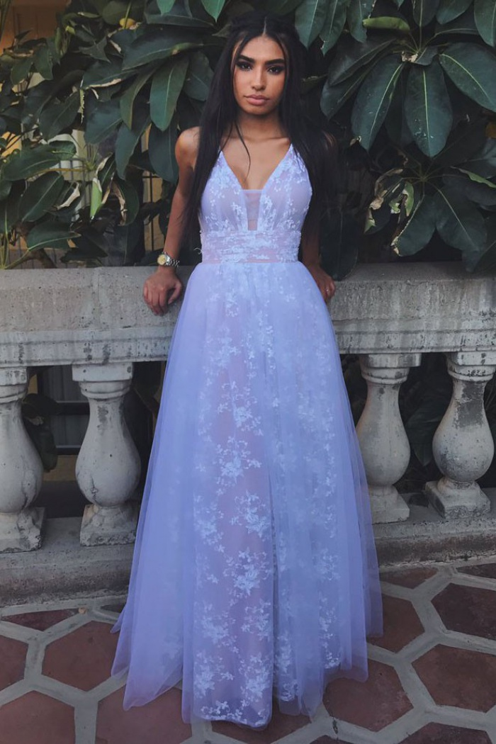 6d08b820509d6d A-Line V-Neck Backless Lavender Tulle Prom Dress with Lace ...