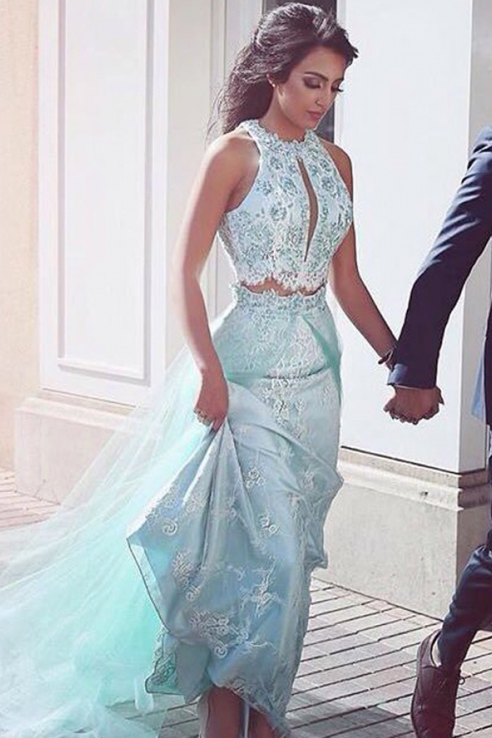 356cf177ae744 Two Piece Sheath Round Neck Blue Prom Dress with Lace Sequins Overskirt 0
