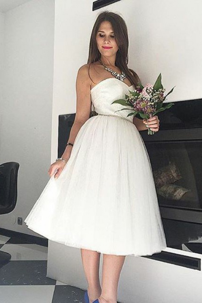 A Line Sweetheart Mid Calf Tulle Beach Wedding Dress With Beading