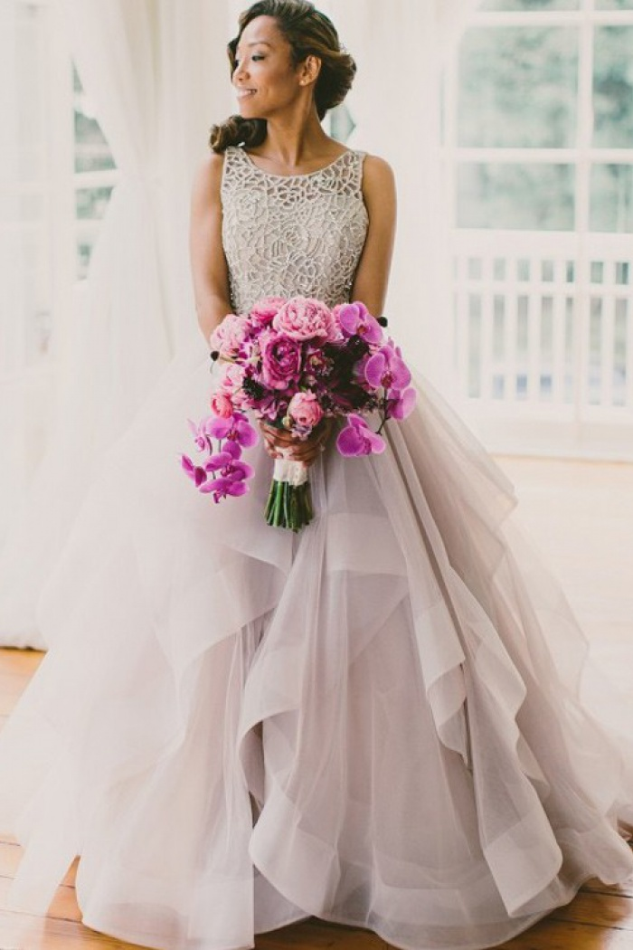 A Line Crew Court Train Organza Lace Grey Open Back Wedding Dress