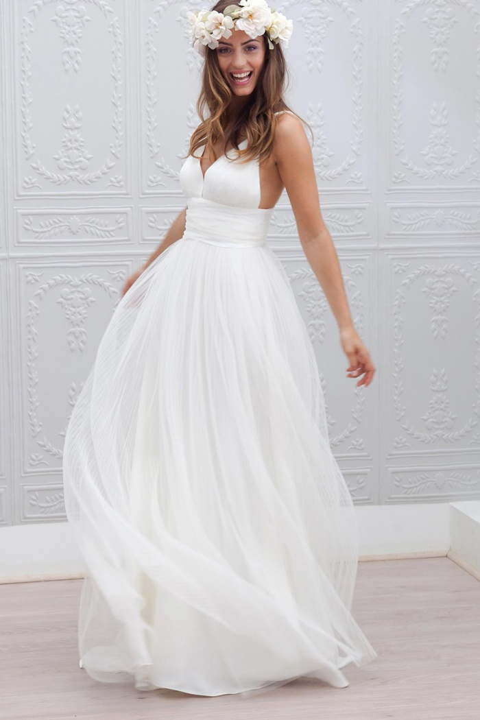 Simple V-neck Floor-Length Open Back White Wedding Dress Ruched Sash ...