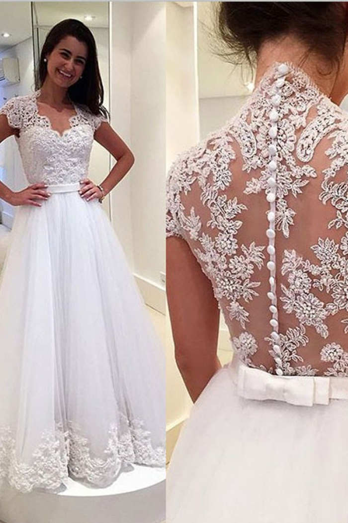 Elegant Scoop Sweep Train Wedding Dress Lace Top With Sash
