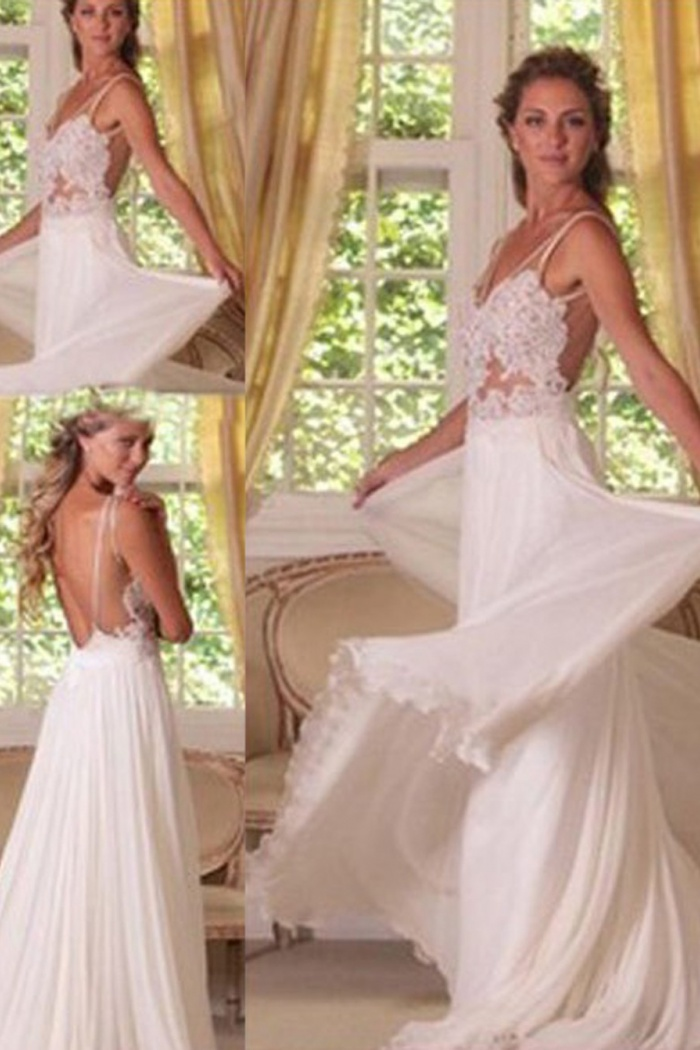 1fe06b4f7c06 Sexy A-line Lace Applique Long Backless Chiffon Wedding Dress Bridal Gown 0