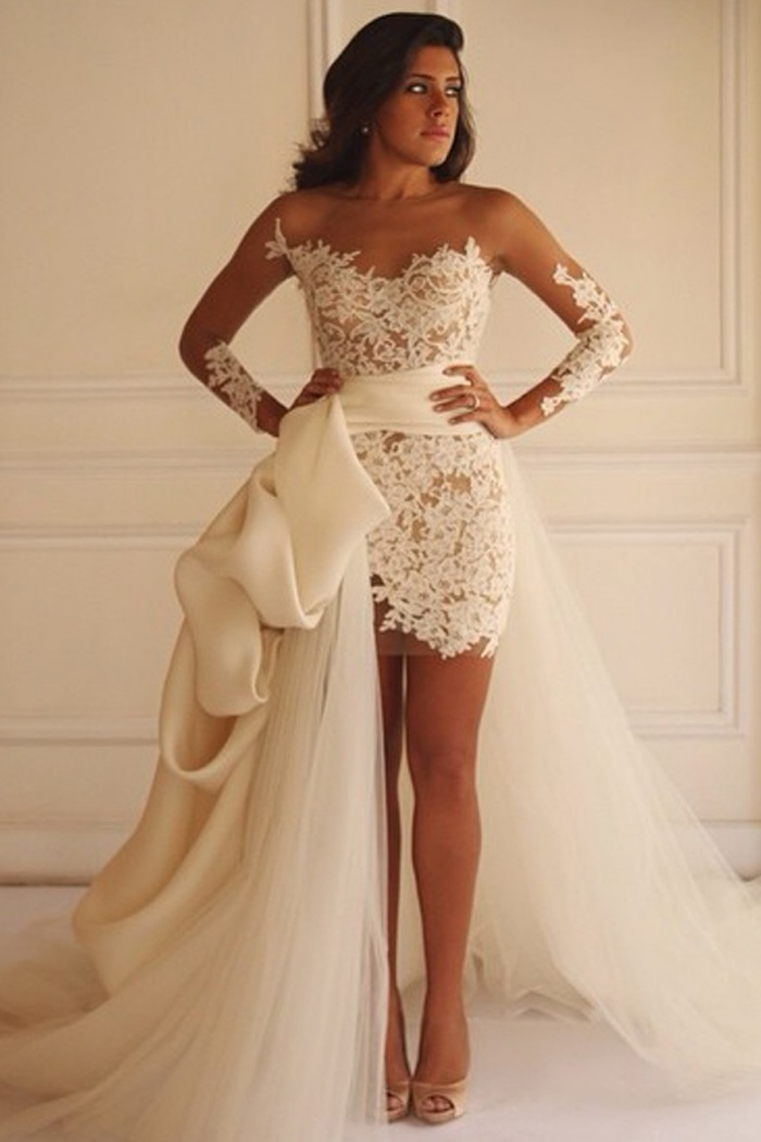 f0eaffbfd2a6 Fabulous Detachable Bateau Sheath Illusion Long Sleeves White Lace Wedding  Dress 0