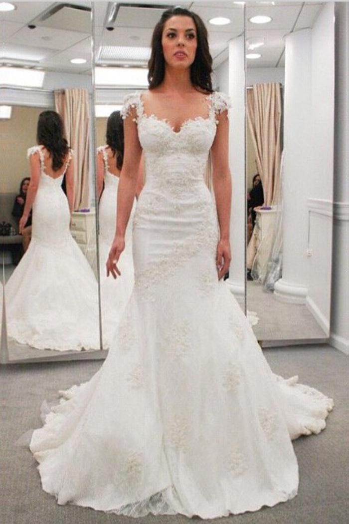 Modern Sweetheart Cap Sleeves Lace Appliques Open Back Mermaid Wedding Dresses Wd 71136