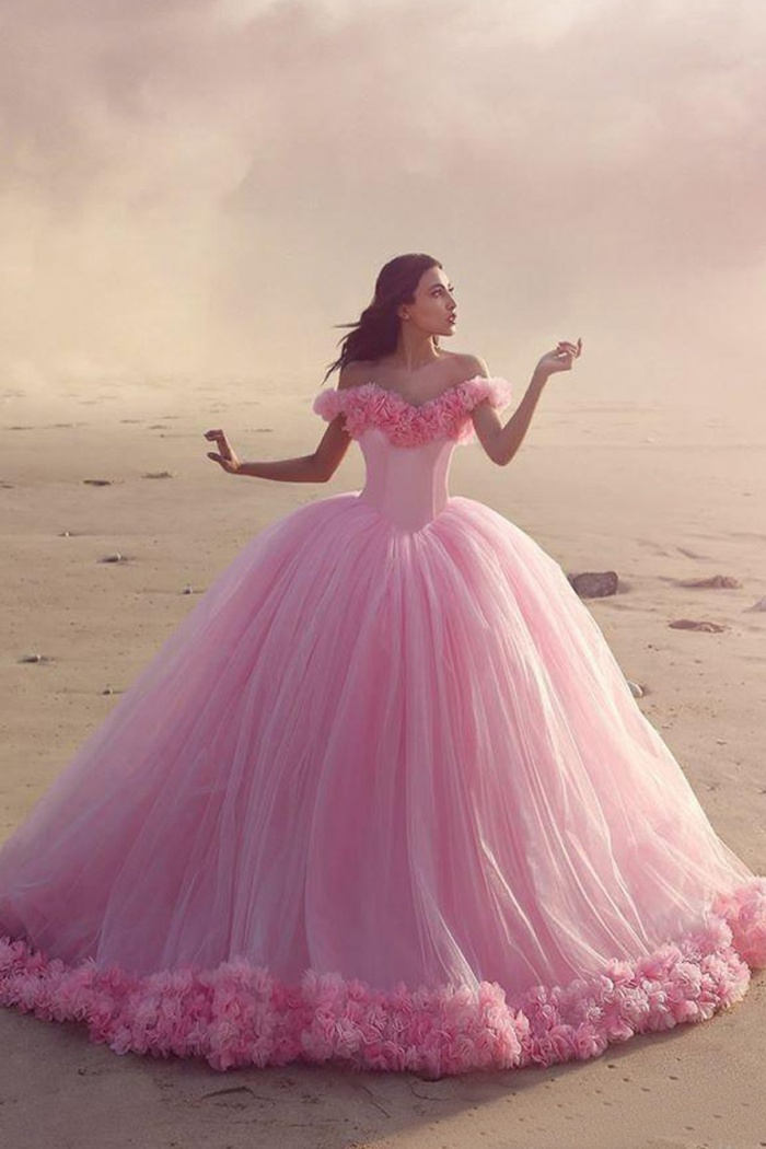 Ball Gown Off-the-Shoulder Pink Tulle Wedding Dress with Flowers ...