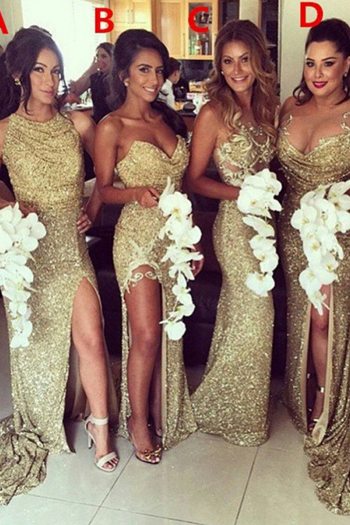 d971b2fd600 Mermaid Sweetheart Sweep Train Split-Side Gold Sequined Bridesmaid Dress  with Ruched 0