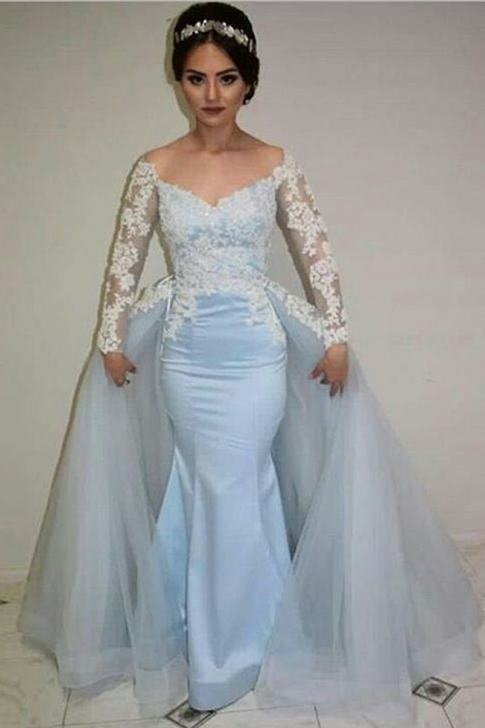 6c566f1de870 Mermaid Illusion Round Neck Appliques Blue Prom Dress with Detachable Train  0
