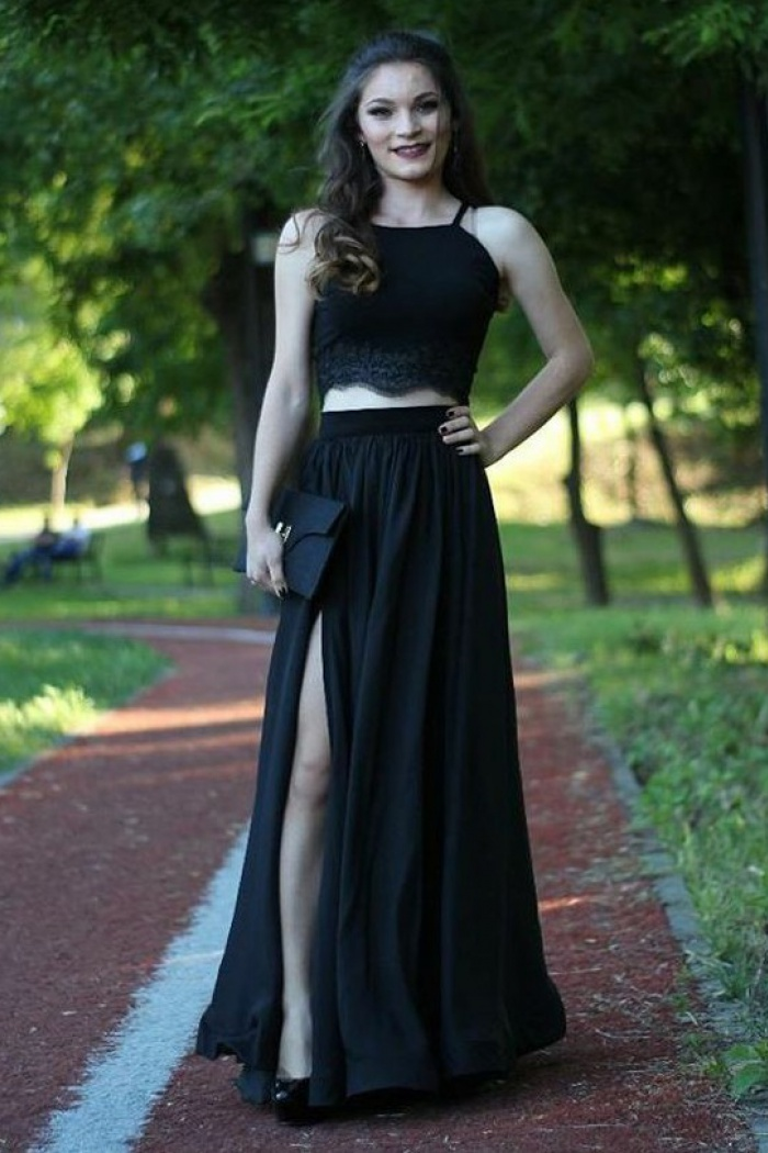 Two Piece Spaghetti Straps Floor Length Black Prom Dress With Lace