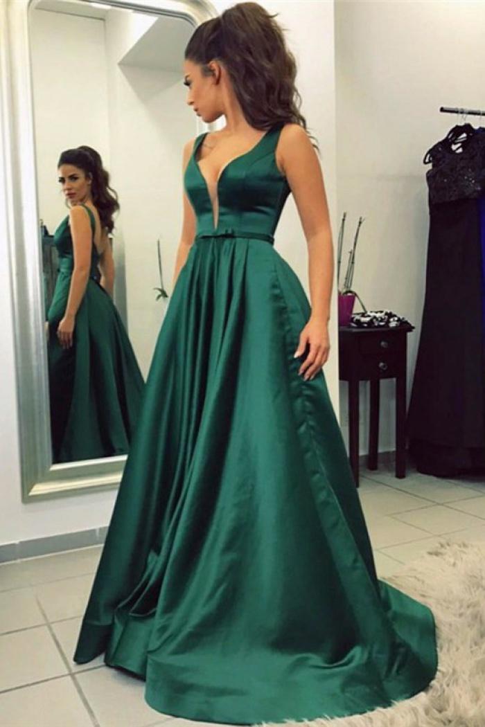 A Line V Neck Sweep Train Emerald Satin Prom Dress With Pockets
