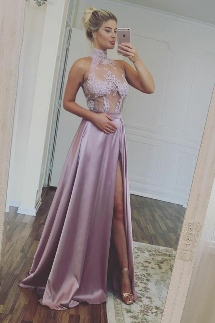 a77d2b8800 A-Line High Neck Illusion Top Lilac Satin Prom Dress with Appliques Split 0