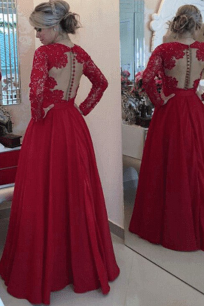 b09589eb543a Sexy V-neck lace beading bowknot watermelon red long-sleeves floor--length