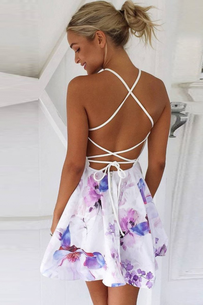 A Line V Neck Lace Up Short Floral Polyester Homecoming