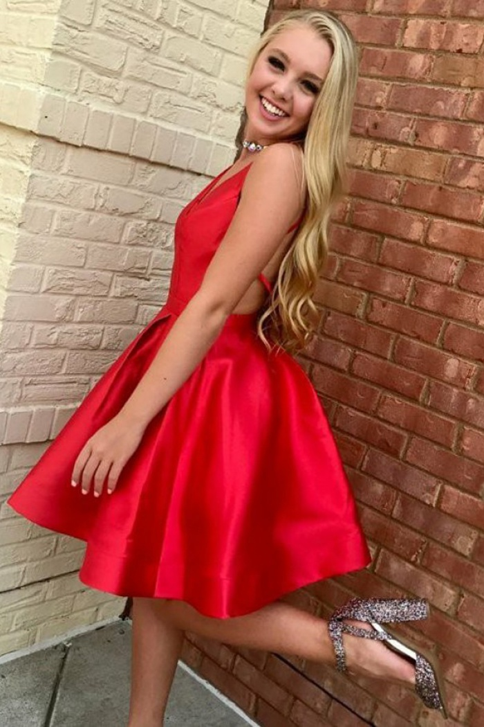 ceeeb4cff A-Line V-Neck Sleeveless Short Red Satin Homecoming Dress ...