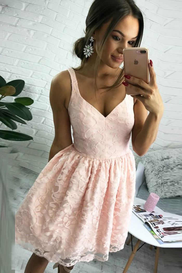 41010c13ae5 A-Line V-Neck Short Pearl Pink Lace Homecoming Dress - Wisebridal.com