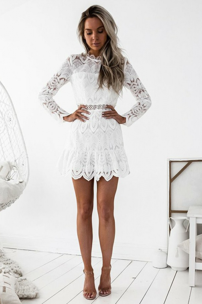e6d7a0147d2e5 A-Line Round Neck Long Sleeves Short White Lace Homecoming Dress ...