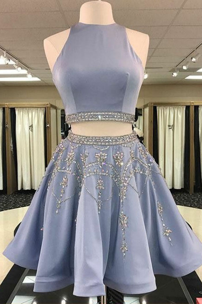 771f8e702c648 Two Piece Round Neck Short Light Sky Blue Beaded Satin Homecoming Dress 0