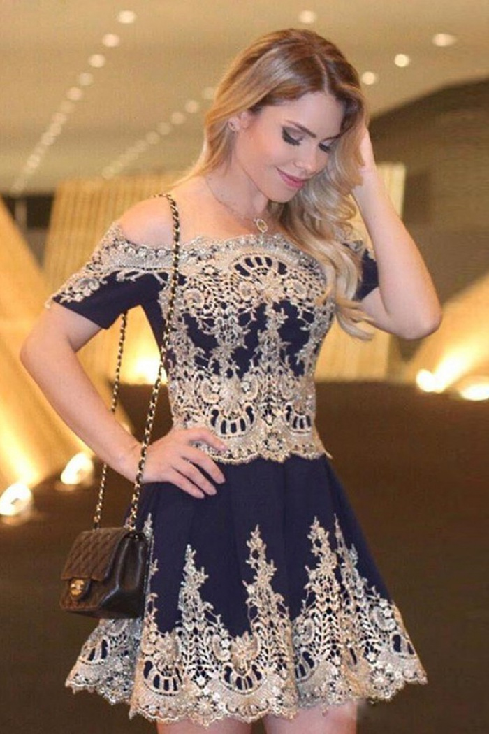 5885b4a545d7 A-Line Off Shoulder Short Sleeves Navy Blue Homecoming Dress with Appliques  0