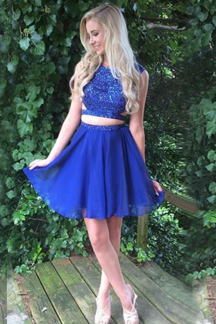 a9488b77870e Two Piece Bateau Open Back Short Royal Blue Homecoming Dress with Beading 0