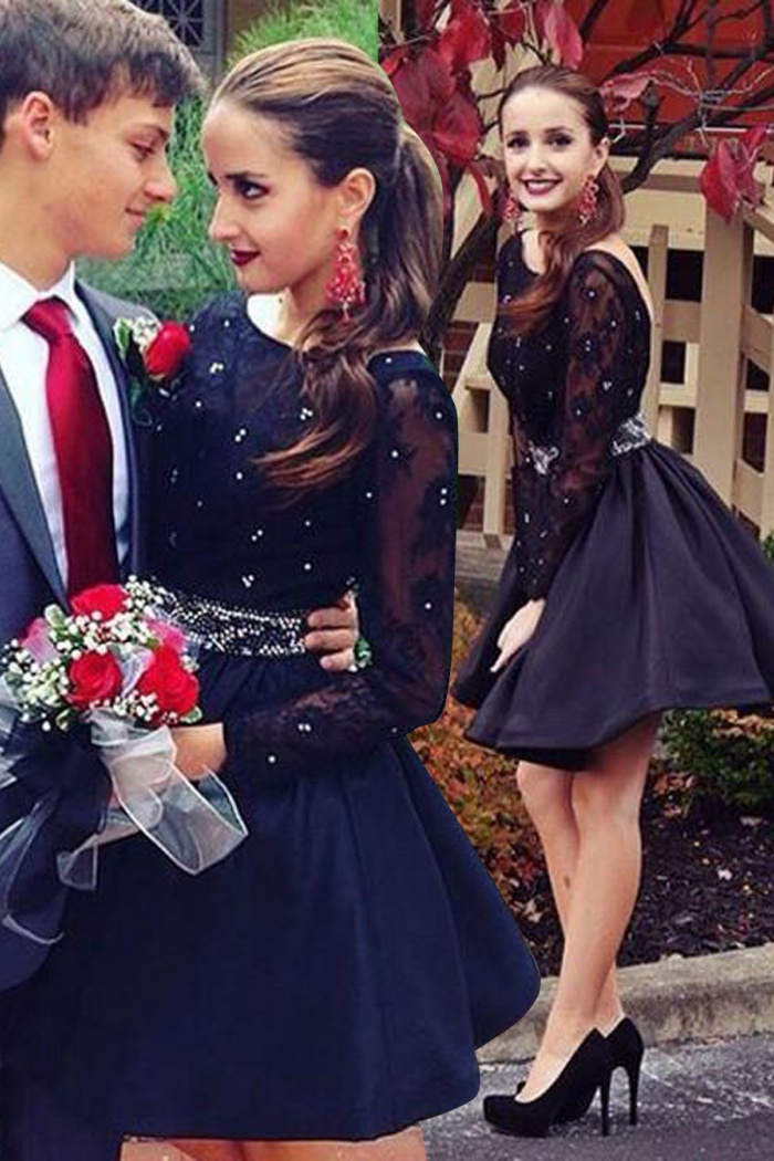 099ac01afcc Hot Sale Long Sleeves Open Back Dark Navy Homecoming Dress with Lace  Beading Waist 0