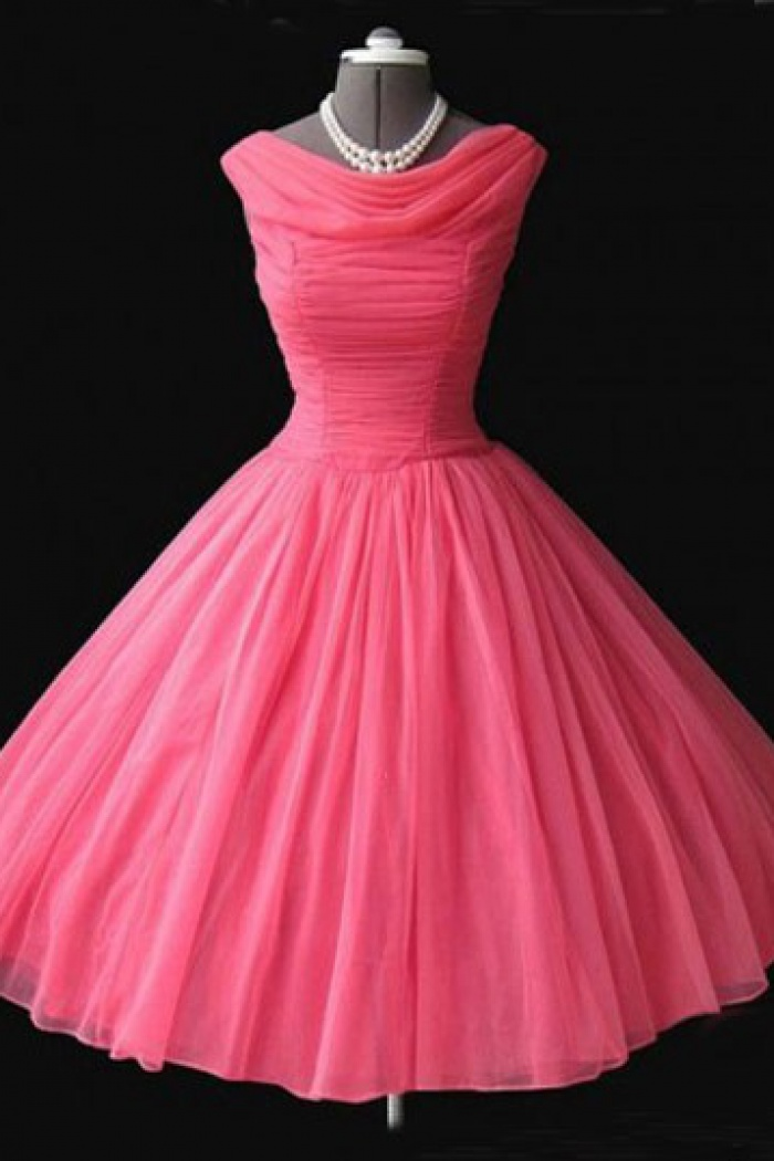 Vintage Cowl Neck Mid-Calf Ball Gown Peach Homecoming Dress with ...