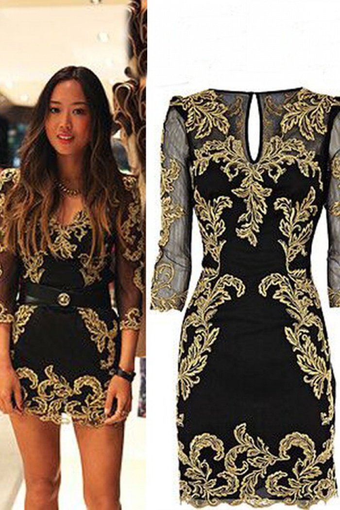 b144ef78125 New Arrival Gold Embroidery Long Sleeves Short  Mini Black Homecoming  Dresses Prom Gowns CHHD-