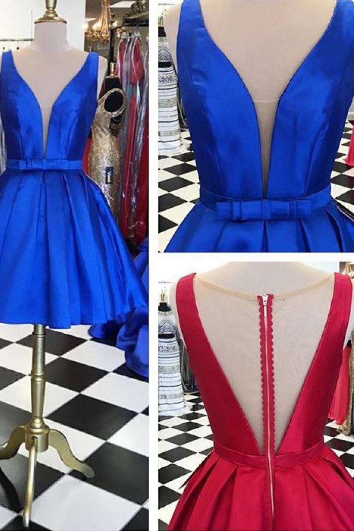1b18887932e3 A-line Knee-Length V-neck Satin Short Red Blue Homecoming Dress with ...