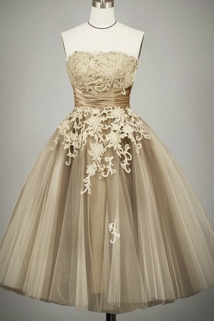 Vintage Ball Gown Strapless Tulle Tea-Length Lace-up Lace Homecoming ...