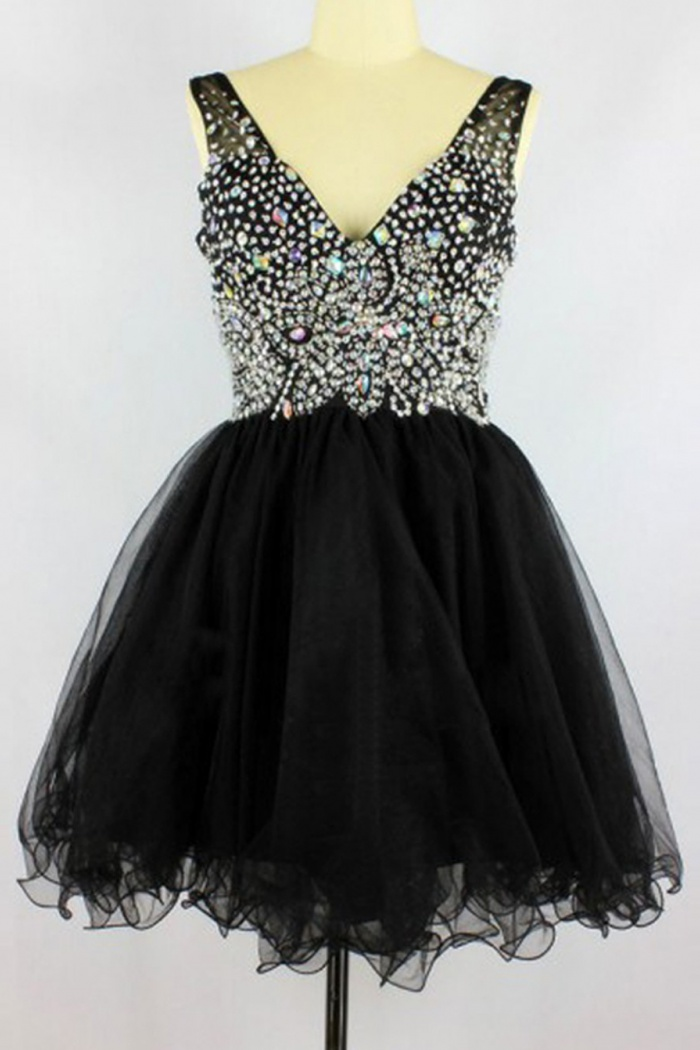 Sexy V Neck Short Tulle Black Seevelesss Backless Homecoming Dress