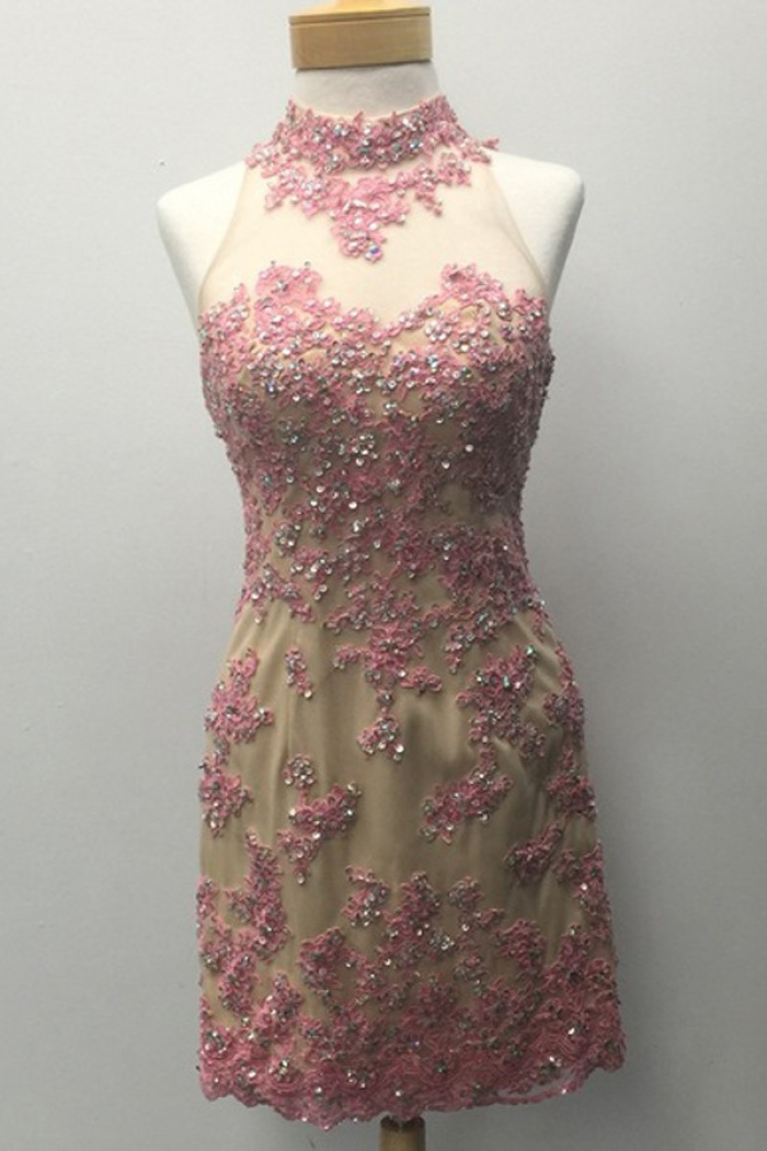 9ee42988f1 Stunning Halter Short Sheath Open Back Gold Homecoming Dress with Rose  Appliques Beading 0